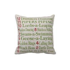 12 Days of Christmas Pillow by Jolie Marche