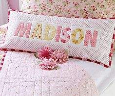 Pretty Name Pillow - Any child would be all smiles with this delightful pillow. It goes together quickly because it starts with a preprinted alphabet fabric panel