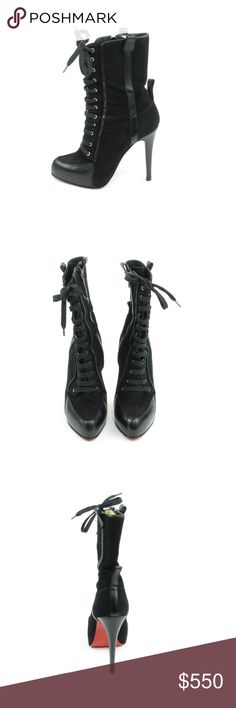 Lace Up Stiletto Boots (Sku 25) We offer both new and pre-owned luxury designer shoes. All shoes have been cleaned and sanitized with revolutionary ozone and UVC technology, killing and preventing fungus, bacteria and odor. We own our entire inventory and all designer shoes have be authenticated, sanitized and restored. Christian Louboutin Shoes Heels