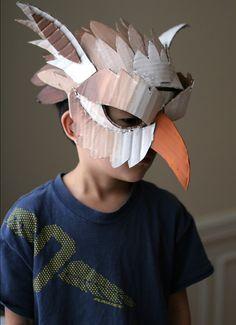 10 DIY Cardboard & Paper Masks for Halloween - Handmade Charlotte - mask making Cardboard Mask, Cardboard Paper, Cardboard Crafts, Cardboard Costume, Paper Clay, Maske Halloween, Costume Halloween, Halloween Diy, Bird Costume