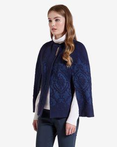 Jacquard cape - Navy | Jackets & Coats | Ted Baker UK