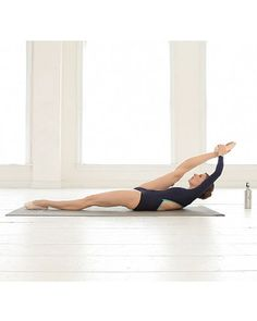 lying on back, bring leg above head, gently pull ankle toward head, work toward stretching knee all the way straight over time; change legs