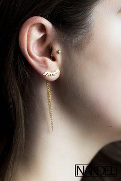 nandel paris gold lash earrings yellow gold behind the lobe boucles d'oreilles derriere lobe cils or