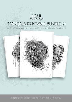 Mandala Wall Art Bundle 2 ⋆ Mandala Prints ⋆ Black and White ⋆ Wall Decor ⋆ Boho Chic ⋆ Minimalist Design ⋆ Digital Download ⋆ Printable ⋆ Dear May Printables Mandala Printable, White Wall Decor, As You Like, White Walls, Minimalist Design, Boho Decor, Boho Chic, How To Draw Hands, Printables