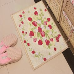 iHappy Jacquard Strawberry Rectangular Anti-Skid Bedroom Doormat Kitchen Carpet,17x23 Inch -- Visit the image link more details. (This is an affiliate link and I receive a commission for the sales)