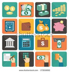 Finance and money flat design icon set, Vector illustration eps10 by Apatsara, via Shutterstock