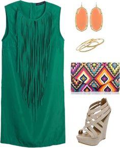 green fringe, earrings, bag