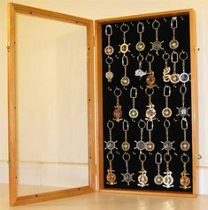 """Key Chain Display Case Shadow Box Wall Cabinet--could use to put """"Key to happiness"""" inside for guest book Souvenir Display, Trophy Display, Shadow Box, Key Cabinet, Cupboard, Travel Wall Decor, Ring Displays, Displaying Collections, How To Make Diy"""