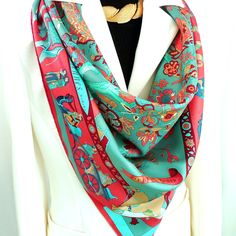 FEATURED Authentic Vintage Hermes Silk Scarf Fantaisies Indiennes with Hermes Box
