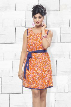 Orange Cotton Silk Designer Party Wear Kurti