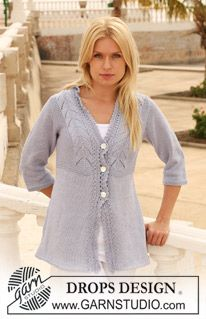 """Knitted DROPS jacket with lace pattern in """"Muskat"""". Size S - XXXL. ~ DROPS Design"""