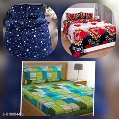 Bedsheets Microfiber Printed Double Bedsheet Combo 90 in x 90 Fabric: Microfiber No. Of Pillow Covers: 6 Thread Count: 160 Multipack: Pack Of 3 Sizes: Queen (Length Size: 90 in Width Size: 90 in Pillow Length Size: 28 in Pillow Width Size: 17 in)  Description: It Has 3 Piece Of Double Bedsheet With 6 Pieces Of Pillow Covers Country of Origin: India Sizes Available: Queen   Catalog Rating: ★4.1 (424)  Catalog Name: Gorgeous Classy Bedsheets CatalogID_1357861 C53-SC1101 Code: 466-8166844-5961