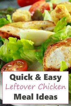 Looking for quick and easy meal ideas? Well, if you've got leftover chicken sitting in your fridge then you're in luck. There are so many delicious chicken recipes you can make with pre-cooked or leftover chicken you can add to your meal plan that are healthy like chicken Cesar salad. These 15-minute meal ideas are perfect when you need to get dinner on the table fast or whip up an easy lunch and are so good your family will love them!! Leftover Chicken Recipes, Yummy Chicken Recipes, Delicious Dinner Recipes, Yum Yum Chicken, Pre Cooked Chicken, How To Cook Chicken, 15 Minute Meals, Quick Easy Meals, Meal Ideas