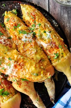 Caribbean Style Corn On The Cob. Roasted corn on the cob coated with homemade aioli, paprika, Parmesan cheese and fresh parsley.