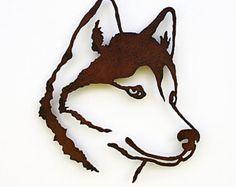 "Siberian Husky wall art - 19.5"" tall Husky - rusted steel dog wall art - indoor outdoor rust patina - satin sealer"