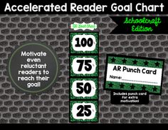 This Schoolcraft themed goal chart is the perfect classroom display for motivating students to reach their AR goal!  This is based on Percent of Goal values.I have only included 25%, 50%, 75%, 100% and Above My Goal percentage values.  I used to do more than that but I like to acknowledge each move up the chart and it got to be too much if I used more than these.Just print, cut apart, attach cards to make a long chart, and laminate.