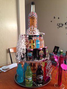 21st Alcohol Birthday cake DIY Pinterest Alcohol birthday