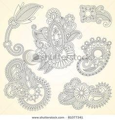 Hand drawn abstract henna