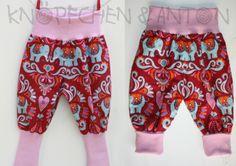 Babyhose, Pumphose, Elephant Love, dunkelrot, rosa von Knöpfchen und Anton auf DaWanda.com