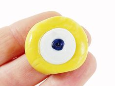 Sunshine Yellow Evil Eye Nazar Glass Bead  by LylaSupplies on Etsy, $2.00