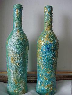 Купить Амазонит и лабрадорит - голубой, бутылка в подарок, сувенир, бутылка декоративная, Декор, декоративная посуда