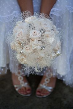 DEPOSIT for Real Rose  with Brooch Vintage Victorian Andrea Bridal Bouquet on Etsy, $100.00