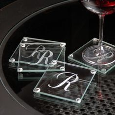 Cathys Concepts Personalized Glass Coasters (Set of 4) - Great wedding gift idea!