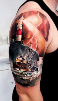 3D Boat with lighthouse half sleeve tattoo - 100 Boat Tattoo Designs
