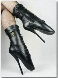 Hot Sale Sexy Spike High Heel Ballet Heel Boots for Women Black Patent PU Leather Boots Sexy Foot Fetish Bellet Heels Boots