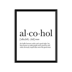 Alcohol definition, college dorm room decor, dorm wall art, dictionary art print, office decor, minimalist poster, funny definition print, definition poster, inspirational quotes