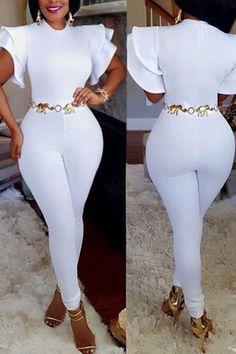 stylish round neck short sleeves falbala design white polyester one-piece skinny jumpsuits size xl