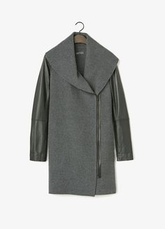 Leather Sleeve Shawl Collar Coat | Vince