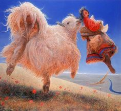 'Summoning of the Heart' by Wang Yi Guang Chinese Culture, Chinese Art, Bev Doolittle, Born In China, Tibetan Art, Drawing S, Painting Inspiration, Camel, Illustration Art