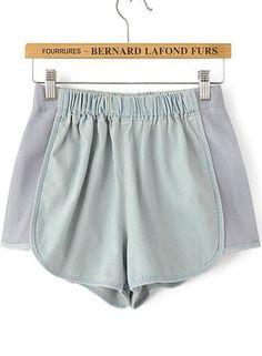 Light Blue Elastic Waist Contrast Gauze Shorts - Sheinside.com