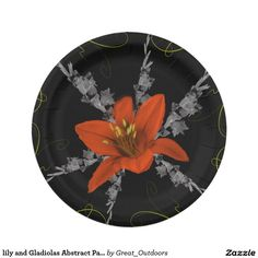 lily and Gladiolas Abstract Paper Plates