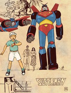Giant Robot Superman - Retro Anime Style DC Superheroes by Cliff Chiang Superhero Characters, Comic Book Characters, Comic Books Art, Superhero Design, Dc Comics Art, American Comics, Dc Heroes, Comic Artist, Character Design