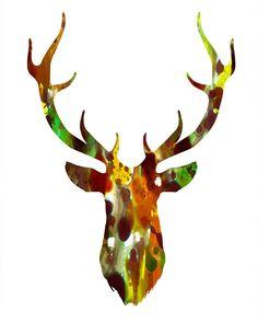 Brown Deer Head 2 deer head print deer head art by FluidDiamondArt