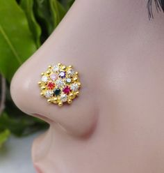 925 Sterling Silver,Gold Nase Piercing,Rose Nose Piercing,Nose Clicker,Nose Ring #BodyJewelry
