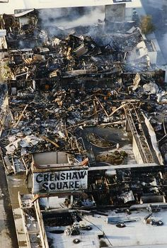 LA #Riots 1992: 5-1-1992 Aerial view of Crenshaw at Coliseum after the LA Riots. Los Angeles