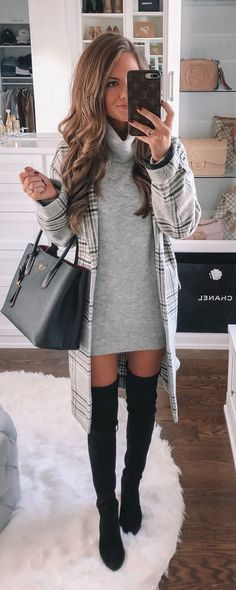 black and white plaid coat Winter Outfits 2019, Casual Fall Outfits, Cute Outfits, Perfect Fall Outfit, Costume Collection, Plaid Coat, Latest Outfits, White Plaid, Womens Fashion