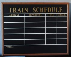 Milostones Creates: {Train Bedroom~~Vintage Inspired Train Schedule} Could make this as a calendar with important dates. Trains Birthday Party, Train Party, 4th Birthday, Birthday Ideas, Bedroom Vintage, Train Theme Classroom, Train Bedroom Decor, Train Nursery, Polar Express Party