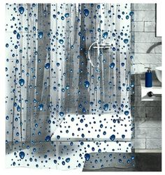 Great for a kid's bathroom, this shower curtain is sure to make a splish splash in your bath, too. Cartoon-like, bright blue water droplets dot the clear