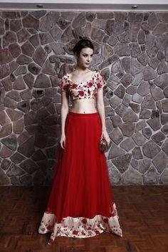 Red and White Lehenga | WedMeGood Floral Print Blouse, Red Lehenga with White and Red Floral Print Border. Find more light lehengas on wedmegood.com #wedmegood #lehenga