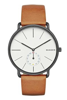 "There's a big trend right now for minimal black 'n' white dials, but that doesn't mean they all have to look the same. Skagen has injected some playfulness into its dial by using red, blue and yellow on its smaller seconds hand, but it's still smart enough to wear to the office. [i]£185, [link url=""http://www.skagen.com/gb/en/men/products/watches/hagen-multifunction-leather-watch-pdpskw6216p.html?referer=productlisting""]skagen.com[/link][/i]."
