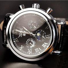 Mens Watch / Retro Style Watch / Handmade Watch / Leather Watch / Automatic Mechanical Watch / Fashion Day Night Wrist Watch (WAT0102-Black) - Thumbnail 2