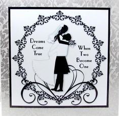 Dreams come true kilt 8x8 black and white topper on Craftsuprint designed by Amanda McGee - made by Darlene Handorff - Yes! This simple but elegant card will not go out of style. I printed the pattern onto glossy photo paper and cut out the pattern. Using CUP 8x8 card blank with envelope is the key. I just added a beautiful embossed silver and grey wedding scrapbook page to the card blank with DST and then the pattern also with DST. I chose this one with the man in his kilt as the men do…