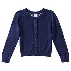 Girls' Long Sleeve Pointelle Knit Cardigan $20AUD.  The lace look back on this is just lovely.