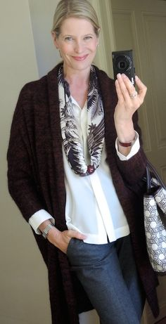 MaiTai's Picture Book: Mytiques Phoenix in a reverse basic bias fold with a MaiTai Collection lacquered scarf ring in bordeaux