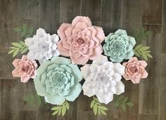 pink, mint and white set of 7 3d Flower Wall Decor, Paper Flower Wall, How To Make Paper Flowers, Large Paper Flowers, Paper Backdrop, Flower Backdrop, Mint Decor, Pink Wreath, Shade Flowers