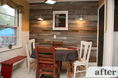 Reclaimed wood wall with sconces